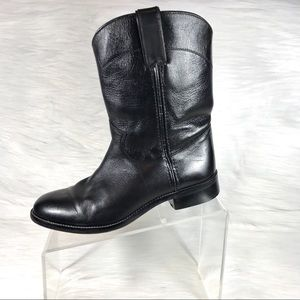 Justin Boots Black Leather Mid Calf Size 5 D
